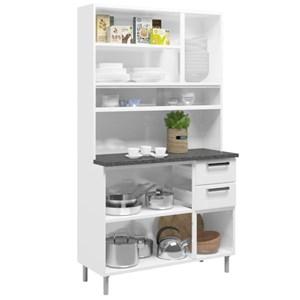Kit Cozinha Compacta Múltipla Aço Vidro 8 Portas 6144 Branco/Preto - Bertolini