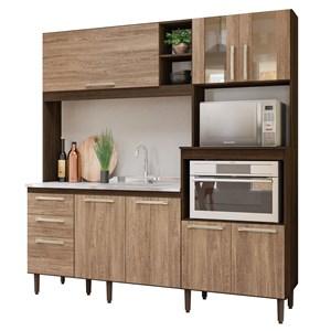 Kit Cozinha Compacta para Pia Piatã 7 Portas Amêndoa/Carvalho Rústico - Nicioli