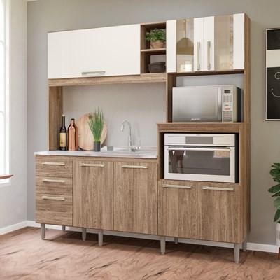 Kit Cozinha Compacta para Pia Piatã 7 Portas Carvalho Rústico/Off White - Nicioli