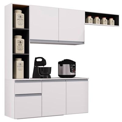 Kit Cozinha Compacta Suspensa 160cm 5 Portas 1 Gaveta Mel Branco/Preto - Poquema