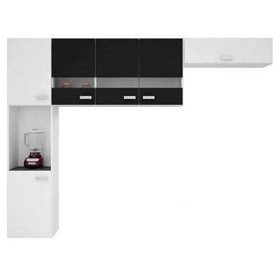 Kit Cozinha Compacta Suspensa 6 Portas Júlia Branco/Preto - Poquema