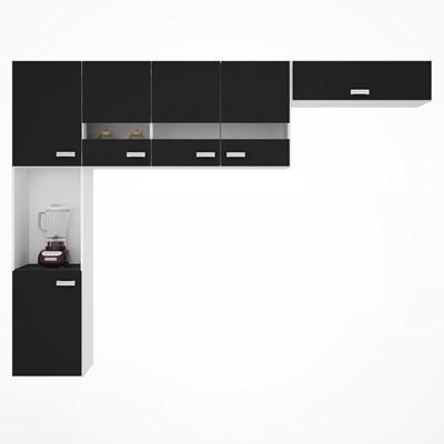 Kit Cozinha Compacta Suspensa 6 Portas Júlia Preto - Poquema