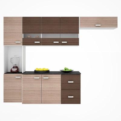 Kit Cozinha Compacta Suspensa com Balcão 8 Portas 2 Gavetas Júlia Amêndoa/Capuccino - Poquema