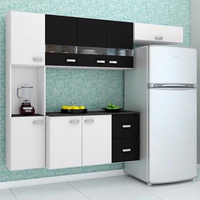 Kit Cozinha Compacta Suspensa com Balcão 8 Portas 2 Gavetas Júlia Branco/Preto - Poquema