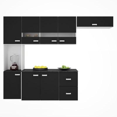 Kit Cozinha Compacta Suspensa com Balcão 8 Portas 2 Gavetas Júlia Preto - Poquema