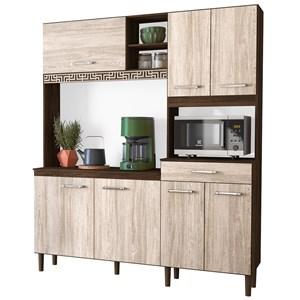 Kit Cozinha Compacta Yara 160cm 7 Portas com Aplique Amêndoa/Arezzo Rústico - Nicioli