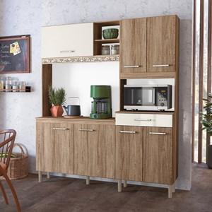Kit Cozinha Compacta Yara 160cm 7 Portas com Aplique Carvalho Rústico/Off White - Nicioli