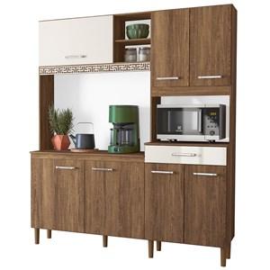 Kit Cozinha Compacta Yara 160cm 7 Portas com Aplique Évora/Off White - Nicioli