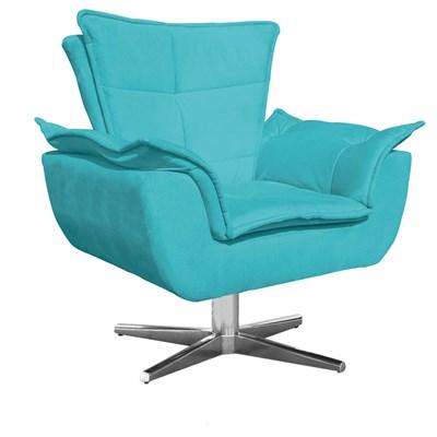 Kit Namoradeira 2 Lugares e 1 Poltrona Decorativa Giratória Cromada Opla Suede Azul Tiffany- Ibiza