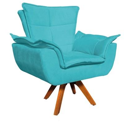 Kit Namoradeira 2 Lugares e 1 Poltrona Decorativa Giratória Madeira Opla Suede Azul Tiffany- Ibiza