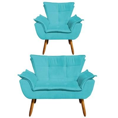Kit Namoradeira 2 Lugares e 1 Poltrona Decorativa Pés Palito Opla Suede Azul Tiffany- Ibiza