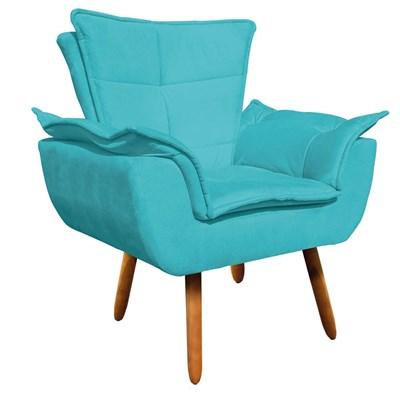 Kit Namoradeira 2 Lugares e 2 Poltronas Decorativas Pés Palito Opla Suede Azul Tiffany - Ibiza