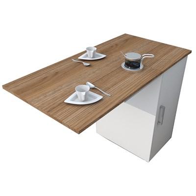 Mesa Bancada Gourmet Para Cozinha Enjoy BAC 3400 Castanho/Branco - Appunto