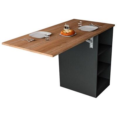 Mesa Bancada Gourmet Para Cozinha Enjoy BAC 3400 Castanho/Preto - Appunto