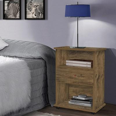 Mesa de Cabeceira 1 Gaveta Com Rodízios Otto 20038 Amêndoa Wood Luxo - Móveis Primus