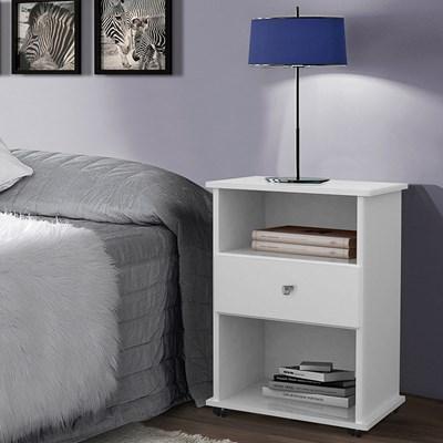Mesa de Cabeceira 1 Gaveta Com Rodízios Otto 6038 Branco Luxo - Móveis Primus