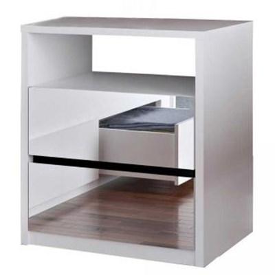 Mesa de Cabeceira Espelhada 2 Gavetas 1 Nicho Blank F04 Branco - Mpozenato