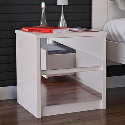 Mesa de Cabeceira Espelhada 2 Gavetas Blank F04 Branco - Mpozenato