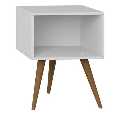 Mesa de Cabeceira Pés Palito Retrô 1001 Branco - BE Mobiliário