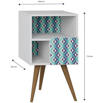 Mesa de Cabeceira Pés Palito Retrô 1008 com Porta Branco/Azul - BE Mobiliário