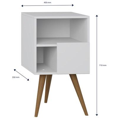 Mesa de Cabeceira Pés Palito Retrô 1008 com Porta Branco - BE Mobiliário