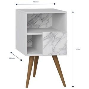 Mesa de Cabeceira Pés Palito Retrô 1008 com Porta Branco/Carrara - BE Mobiliário