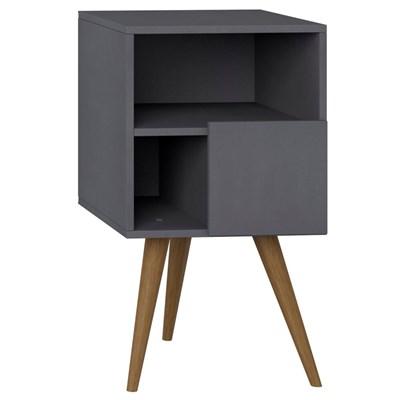 Mesa de Cabeceira Pés Palito Retrô 1008 com Porta Espresso - BE Mobiliário
