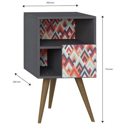 Mesa de Cabeceira Pés Palito Retrô 1008 com Porta Espresso/Vermelho - BE Mobiliário