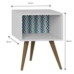 Mesa de Cabeceira Retrô 1001 Pés Palito Branco/Azul - BE Mobiliário