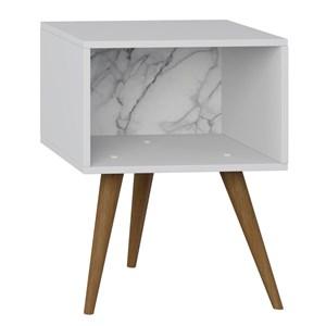 Mesa de Cabeceira Retrô 1001 Pés Palito Branco/Carrara - BE Mobiliário