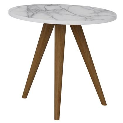 Mesa de Canto Lateral Pés Palito Retrô 1005 Branco/Carrara - BE Mobiliário