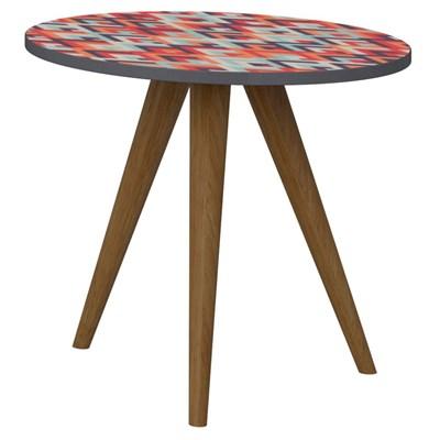 Mesa de Canto Lateral Pés Palito Retrô 1005 Espresso/Vermelho - BE Mobiliário
