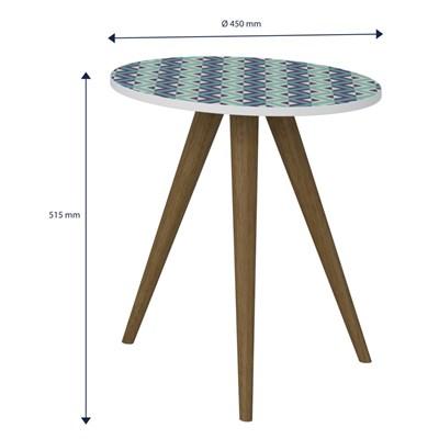 Mesa de Canto Lateral Pés Palito Retrô 1006 Branco/Azul - BE Mobiliário