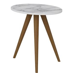 Mesa de Canto Lateral Pés Palito Retrô 1006 Branco/Carrara - BE Mobiliário