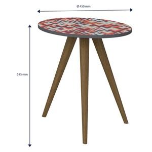 Mesa de Canto Lateral Pés Palito Retrô 1006 Espresso/Vermelho - BE Mobiliário