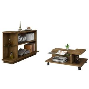 Mesa de Centro com Aparador Flora Madeira Rústica - Bechara