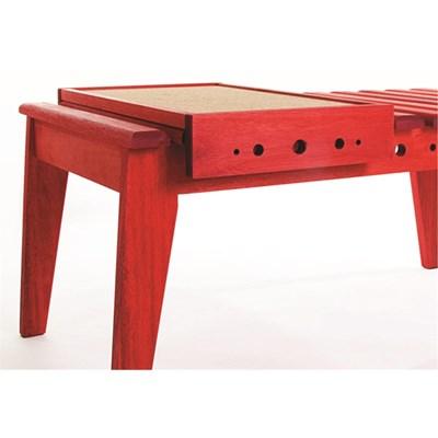 Mesa de Centro com Bandeja Varanda Stain Vermelho - Mão & Formão