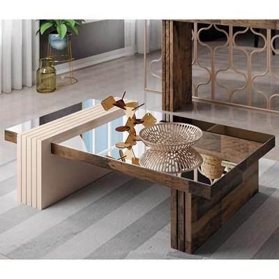 Mesa de Centro com Espelho Luna Deck/Off White - HB Móveis