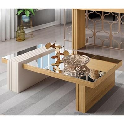 Mesa de Centro com Espelho Luna Freijó/Off White - HB Móveis
