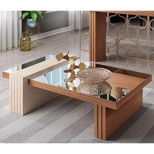 Mesa de Centro com Espelho Luna Nature/Off White - HB Móveis