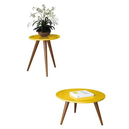 Mesa de Centro e Mesa Lateral com Pés Palito Sorelle Amarelo - HB Móveis