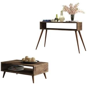 Mesa de Centro Lucy e Aparador Quad com Pés Palito Deck - HB Móveis