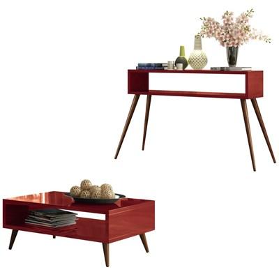 Mesa de Centro Lucy e Aparador Quad com Pés Palito Vermelho - HB Móveis