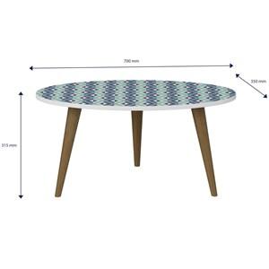 Mesa de Centro Pés Palito Retrô 1007 Branco/Azul - BE Mobiliário