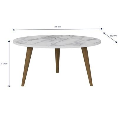Mesa de Centro Pés Palito Retrô 1007 Branco/Carrara - BE Mobiliário