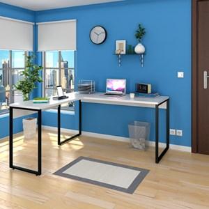 Mesa de Escritório em L 150x150 Studio Industrial M18 Branco – Mpozenato