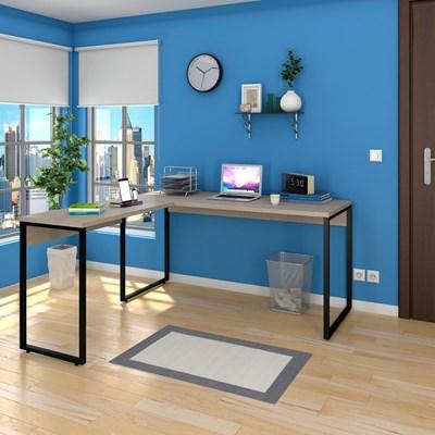 Mesa de Escritório em L 150x150 Studio Industrial M18 Carvalho Bruma – Mpozenato