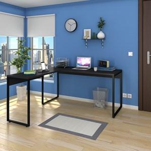 Mesa de Escritório em L 150x150 Studio Industrial M18 Preto – Mpozenato