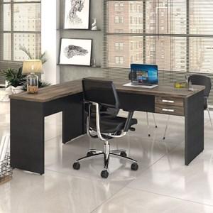 Mesa de Escritório em L 160x160 2 Gavetas Work C08 Carvalho Dark/Preto Ônix- Mpozenato