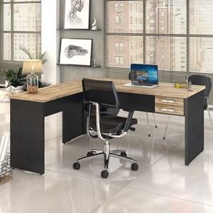 Mesa de Escritório em L 160x160 2 Gavetas Work C08 Carvalho/Preto Ônix - Mpozenato
